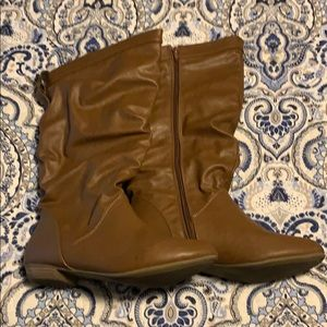 Brown Faux Leather Express Boots